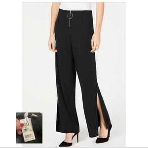 NY COLLECTION NWT Black Petite Wide Slit Leg Pant